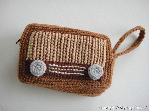 Crochet Cell Phone Purse : Crochet Pattern - VINTAGE RADIO PURSE - For cell phone / money / othe ...