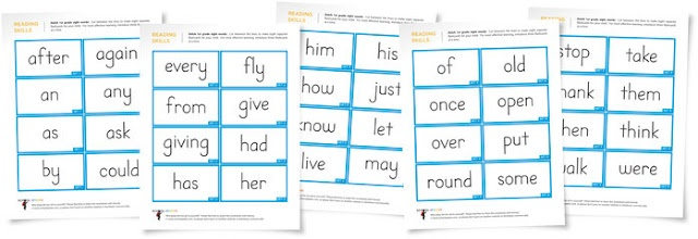 Free first grade Dolch sight word flashcards