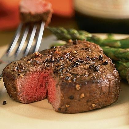 Spiced Pepper-Crusted Filet Mignon with Asparagus by Cooking Light