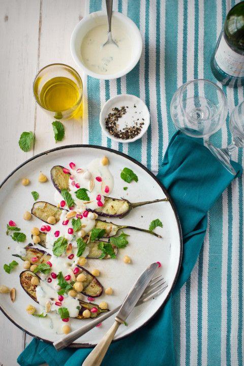 Grilled Eggplant Salad With Yogurt Dressing 20 ml extra virgin olive ...