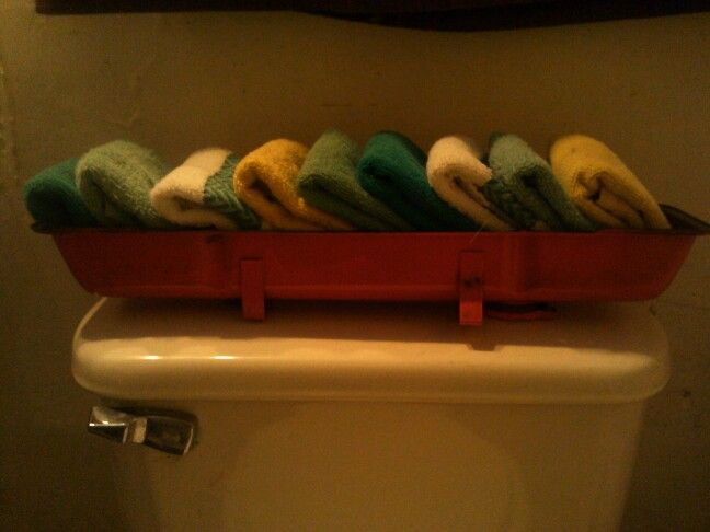 Repurposed 1976 Chevy valve cover to put my wash cloths in to match my car part theme bathroom.