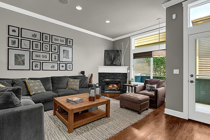 Grey walls with white trim dream home pinterest for Grey walls white trim