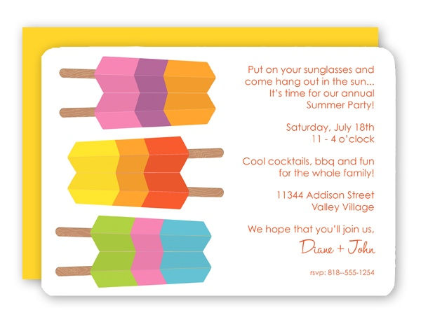 Striped ice pops invites | 4th of July and Summer Parties | Pinterest