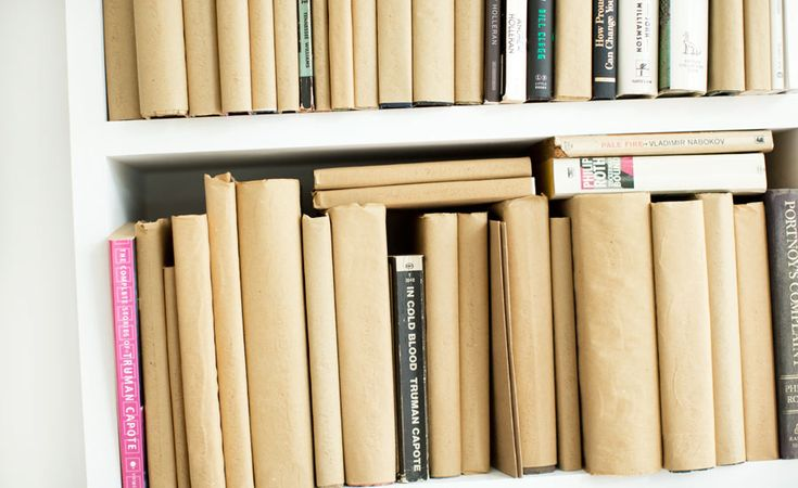 {HMH}- Try styling your books like you did back in grade school...gives a funky clean look
