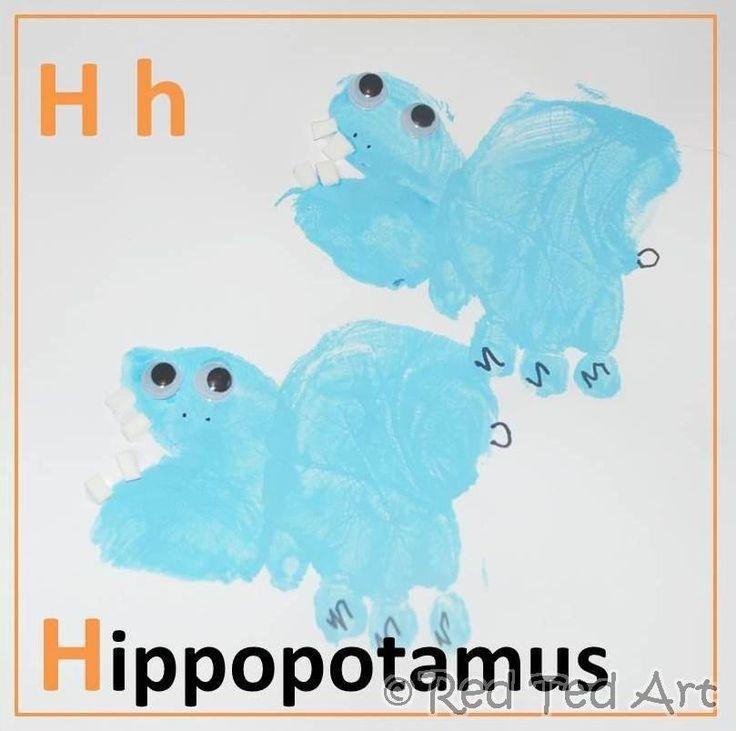 Handprint Alphabet - H is for Hippopotamus