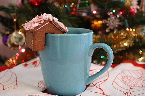 Tiny Gingerbread House by notmartha: An all time favorite to perch on your mug of hot cocoa. Click through to see the link for the sugar cookie recipe variation also! #Gingerbread_House