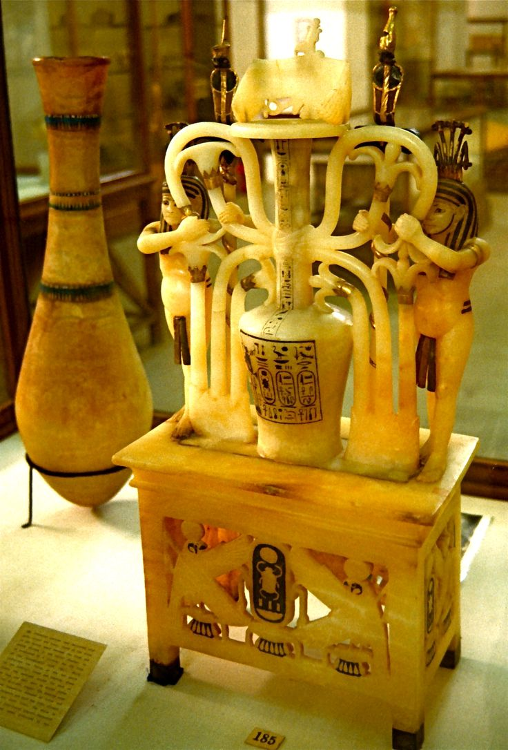 An exquisite alabaster perfume jar from the tomb of Tutankhamun in the ...