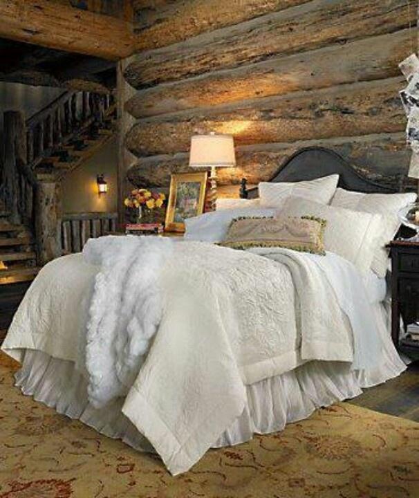cabin bedroom log cabins pinterest