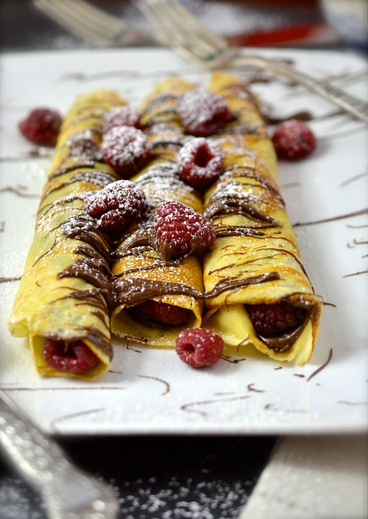 Almond Scented Crepes with Nutella & Raspberries ciaochowbambina.com