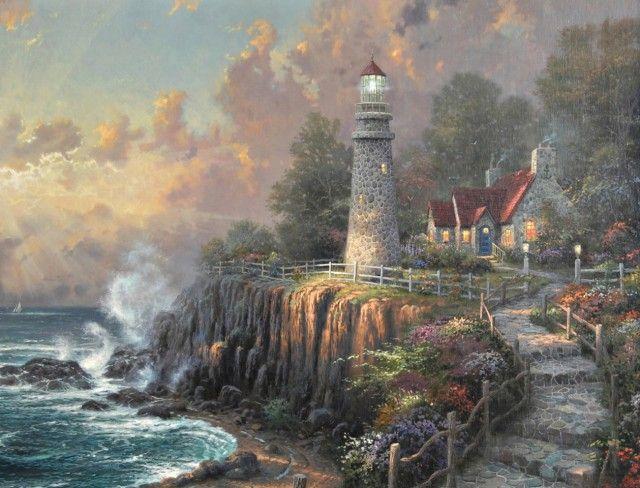 Lighthouse Pictures Thomas Kinkade | Kinkade Lighthouse