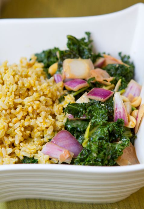 Peanut Ginger Kale Rice Bowl (nutritional yeast and pickled ginger ...