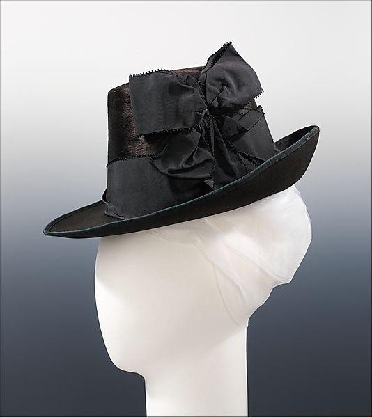 c.1885 Hat, French in fur, wool & silk
