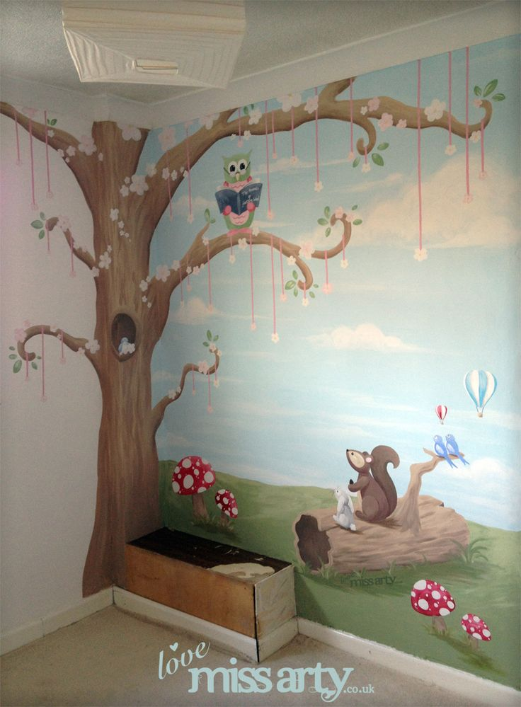 Animal story forest wall mural for Animal wall mural