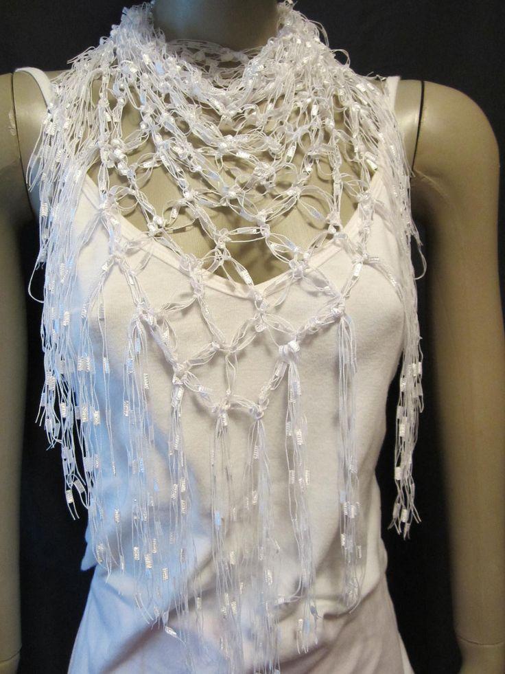 Crochet Patterns Neck Scarves : ... Crochet Ladder Yarn Neck Scarf or Shawl or beach coverup Pattern