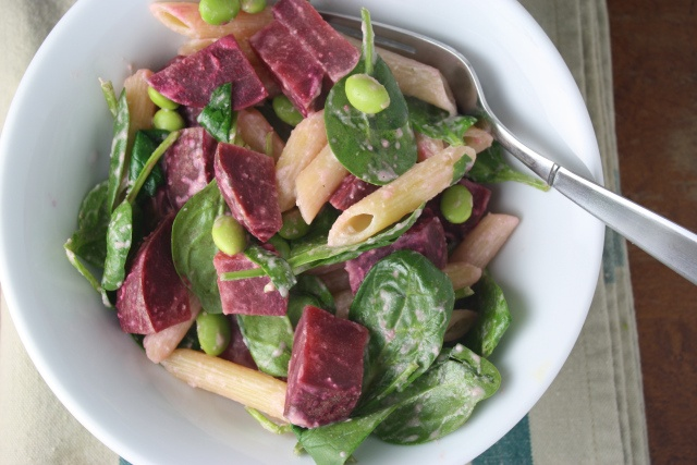 Roasted beet and arugula pasta with tahini sauce   A Farmer in the ...