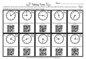 ... and one 10-problem worksheet. Times are to the nearest five minutes