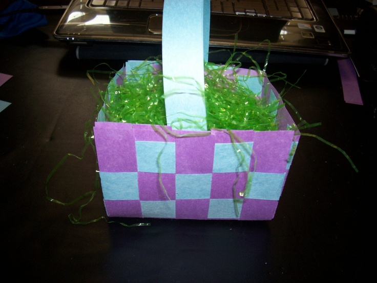 Easy and cheap Easter basket idea!  Full tutorial here http://www.outnumbered3-1.com/2012/03/craftastic-woven-paper-easter-basket.html