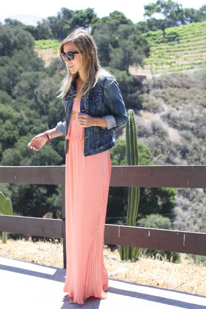 Jean jacket and coral maxi