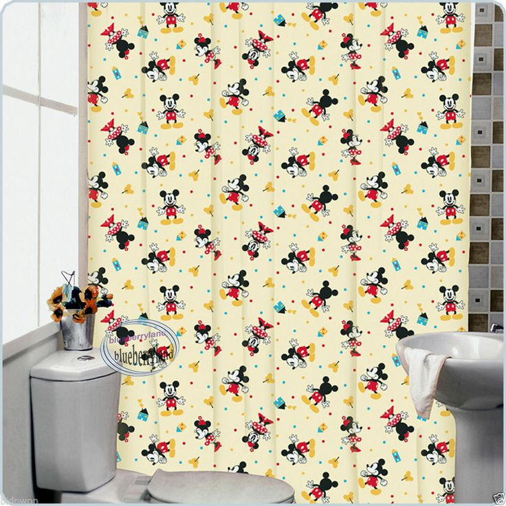 Disney MICKEY MOUSE Bath Shower Curtain with rings bathroom accessori ...