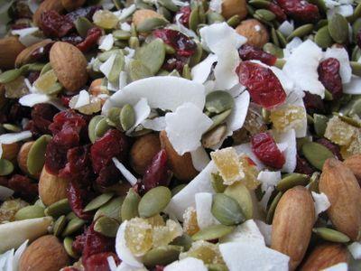 Pumpkin seed trail mix: Green/raw pumpkin seeds, unsweetened coconut ...