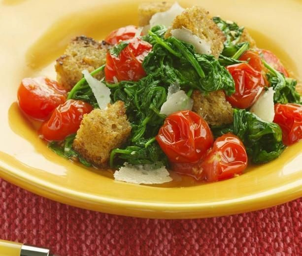 Warm Arugula Bread Salad | diabetic friendly | Pinterest