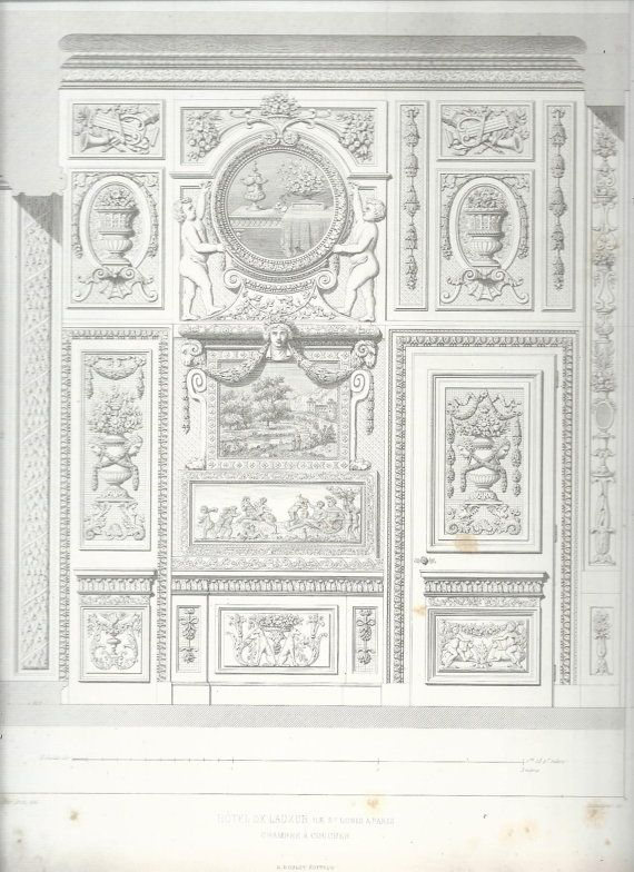 Chambre Bebe Meuble Taupe : French Architectural Print, Chambre a Coucher, Louis XIV, Paris 1863