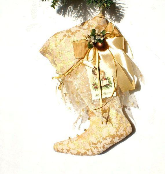 Victorian Christmas Stocking, Christmas Décor, Décor for Mantel ...