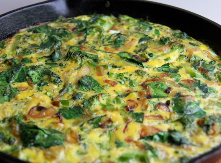 Broccoli Spinach Frittata with Caramelized Onions | Recipe