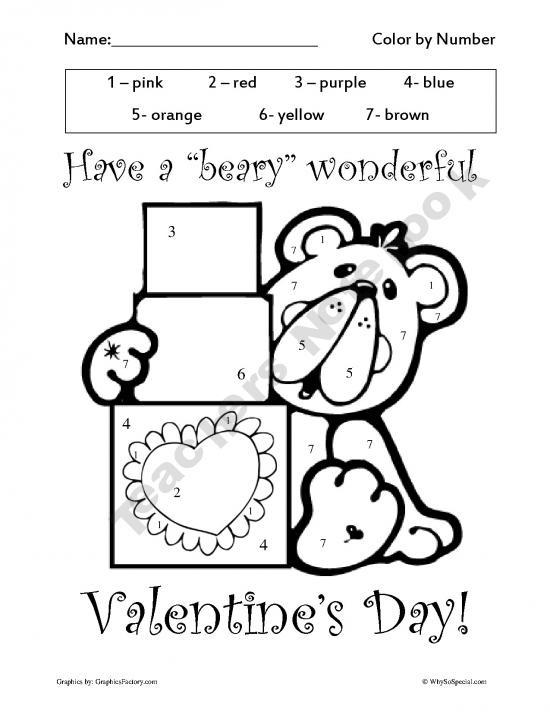 Valentine 39 s Color by Number printables