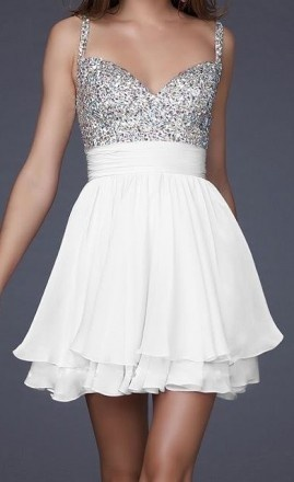 Sparkle bodise with white skirt