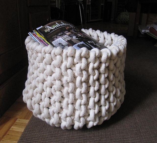 Crochet Rope Basket Free Pattern : Giant knit rope basket pattern by Cara Corey