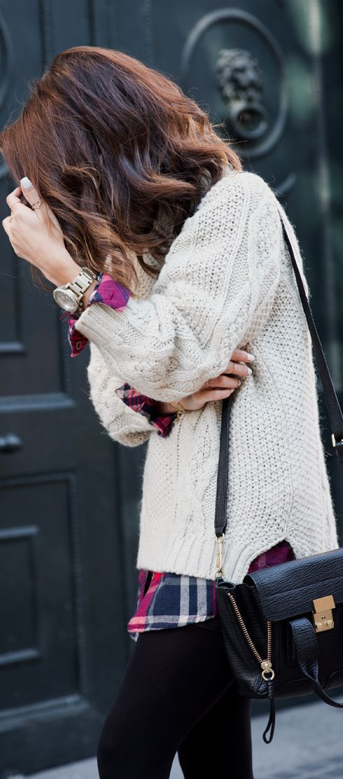 Knit sweater. Fall & Winter Outfit. Leggings & Plaid collar shirt. I Like!