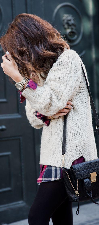Knit sweater. Fall & Winter Outfit. Leggings & Plaid collar shirt. I Like!