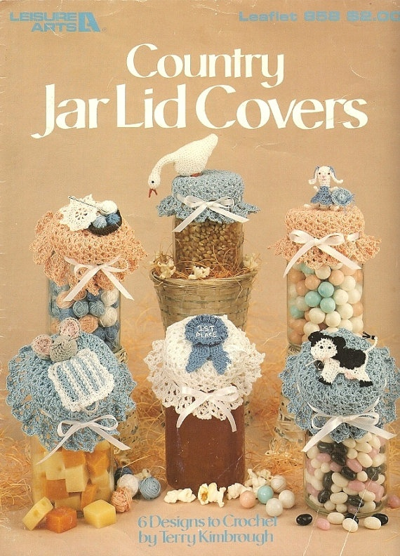 X483 Crochet PATTERN ONLY Country Jar Lid Covers 6 Designs Goose Cow ...