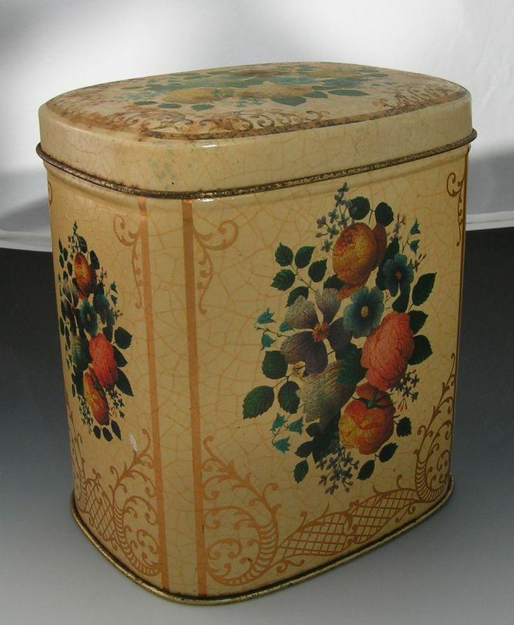 Decorative Metal Boxes With Lids : Vintage yellow decorative tin metal box with flowers made
