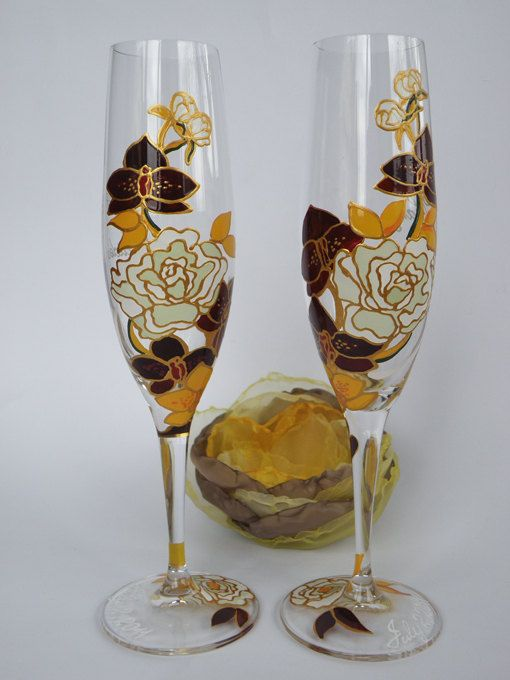 custom toasting glasses hand painted wedding toasting flutes set of