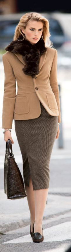 Madeleine Fashion for the working woman ~ Wool Blazer and Pencil Skirt, Camel, tweed.