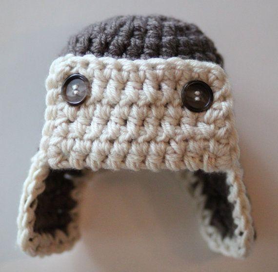 Crochet Newborn Aviator Hat Pattern : Crochet Baby Hat, Crochet Aviator Hat, Baby Boy Hat, Ear ...