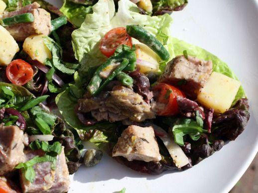 ... crisp haricots verts, juicy baby tomatoes, hearty potatoes, briny