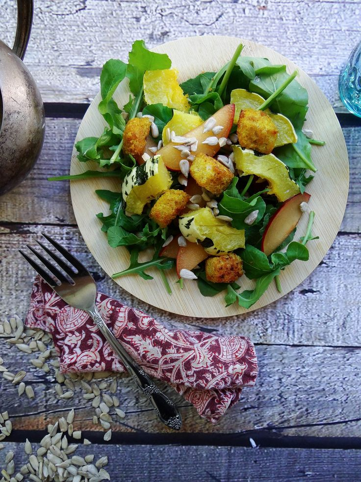 Roasted winter squash & arugula salad with toasted curry croutons