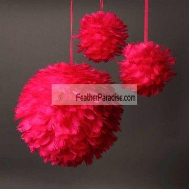 Red large feather balls rose balls flower balls wedding centerpieces