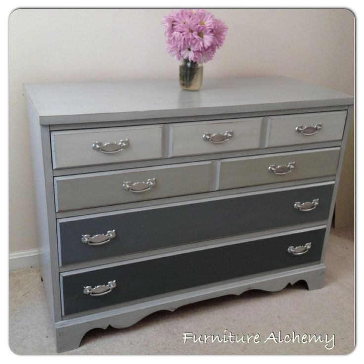Annie Sloan Chalk Painted Grey Ombre Dresser by Furniture