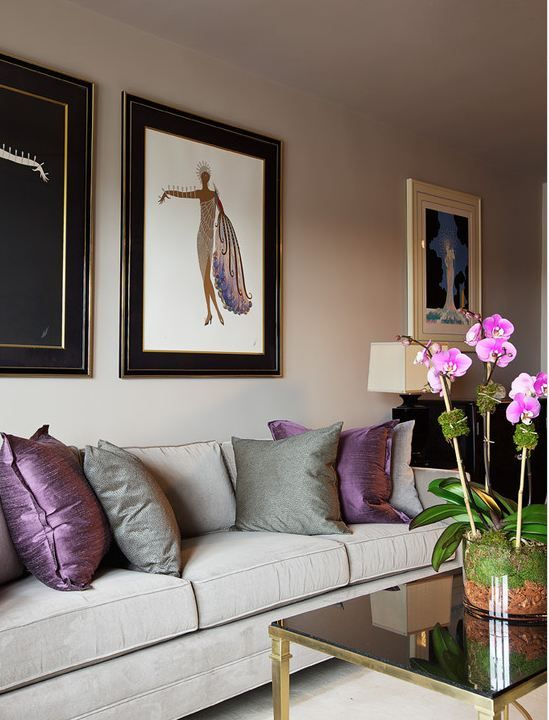 Purple and gray living room from Houzz.com