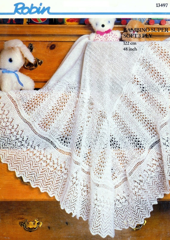 Free Knitting Pattern Baby Christening Shawl : Vintage PDF Knitting Pattern Robin 13497 - 3ply Christening shawl