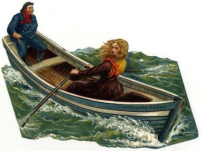 Vintage Victorian die cut paper scrap, girl rowing in stormy sea c. 1878