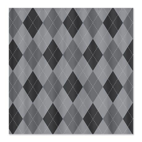 Gray Argyle Shower Curtain