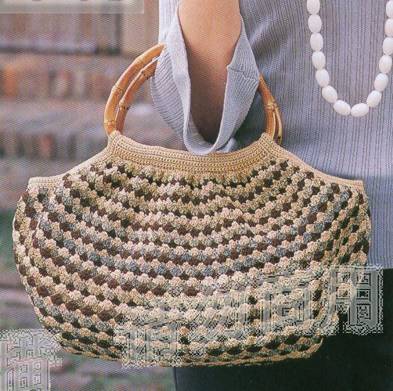 Crochet Bag Bamboo Handles Pattern : Crochet bamboo handle purse Crochet bags Pinterest