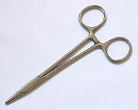 """Hemostat clamps with a smooth jaw make a great """"third hand"""" for holding wire bundles together during wrapping!"""