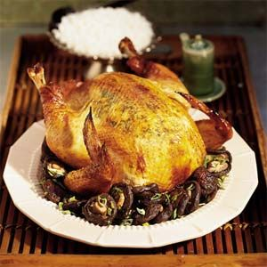 Soy-Ginger Roast Chicken with Shiitake Mushrooms | MyRecipes.com