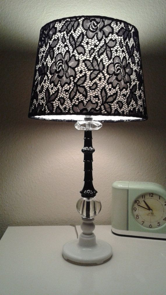 Vintage Glass Vanity Lamp - Black and White With Lace Shade - Refurbi?
